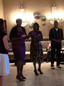 Council Member Wanda Adams, Jeri Brooks and Michael Whitmire of Salsa Grande