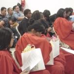 Students enjoying Jeri's gift bag